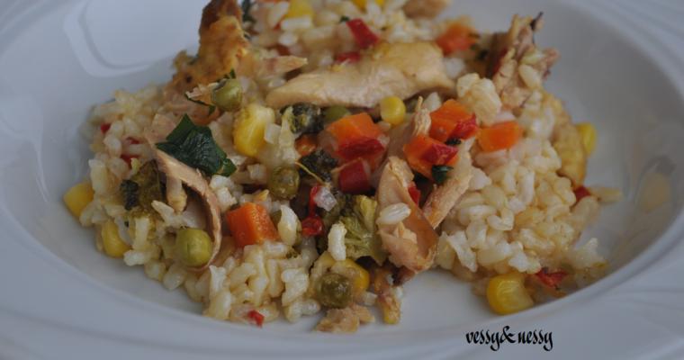 Ориз с пилешко и шарени зеленчуци